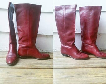Vintage Cranberry Leather Boots   size 6.5   Nine West