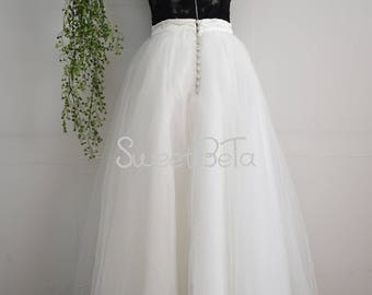 Ivory 6 layers tutu tulle skirt, buttons in back, brides skirt, custom skirt, vintage tutu tulle skirt