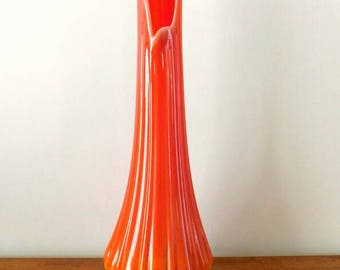 L E Smith Bittersweet Orange Opaque Vase  1960s Simplicity Line 3801 Shipping Included
