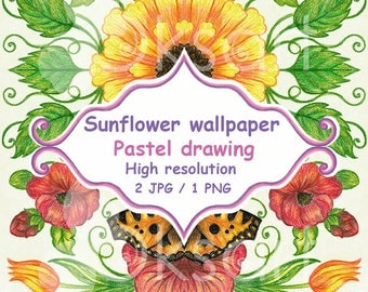 Sunflower wallpaper with butterfly and tulips. Digital clip art, drawing. Instant download.