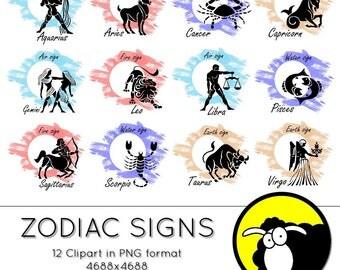 Clipart - Zodiac Signs - Digital download