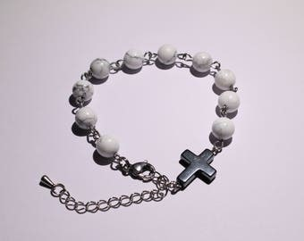 Decadic prayer beads - BRACELET from Howlite on stainless steel wire