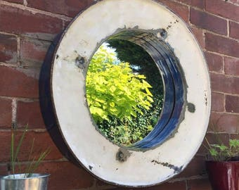 Reclaimed Large Round Metal Industrial Mirror Variety of Colours