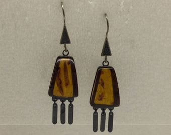 875 silver Baltic amber earrings #318