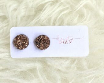 12mm Rose Gold : Druzy Stud Earring