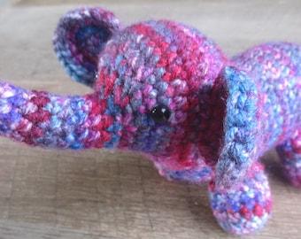 Crochet Elephant: Purple, Pink, Blue