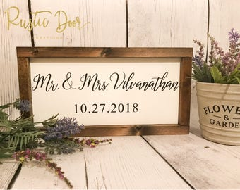 Newlywed Sign | Wedding Gift Sign | Wedding Date Sign | Last Name Sign