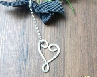 SALE, Hammered Silver Necklace, Heart Necklace, Sterling Silver Heart, Quirky Jewellery,