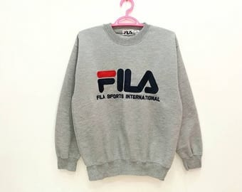 Rare!! Vintage Fila Sports Spellout Embroidery Pullover Jumper Sweatshirt