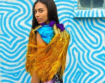 Gold Tassles on Blue Cape, Burning man, festival costume, unisex