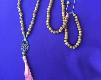 tassel pastel mala hamsa adjustable necklace