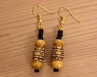 Handmade Wooden Dangle Earrings