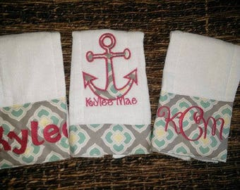 Personalized Nautical Burp Cloths