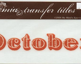 October Title Rub On Transfer Embellishments Cardmaking Crafts My Mind's Eye Bohemia