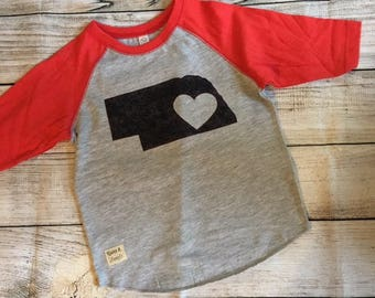 Toddler Nebraska heart baseball tee