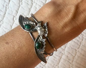 Vintage Rock and Roll Eagle Sterling Silver and Malachite Bracelet Cuff