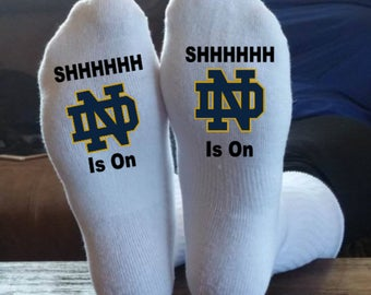 Notre Dame, Football Socks,  My Team Is On, Customized, We Can Make Any Team, Sports Socks, Funny Socks, Fighting Irish, Notre Dame