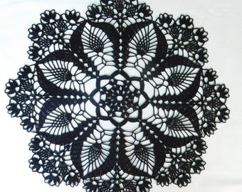 """Black crochet doily (38cm or 14.96""""), tablecloth, home decoration, Christmas gift, table centrepiece, coffee tablecloth"""