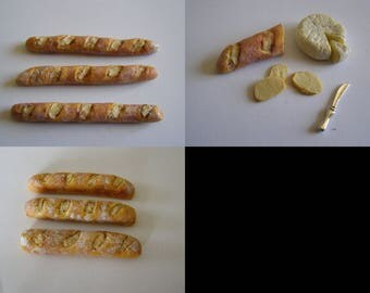 baguettes, bread, a half bread and cheese miniature choice