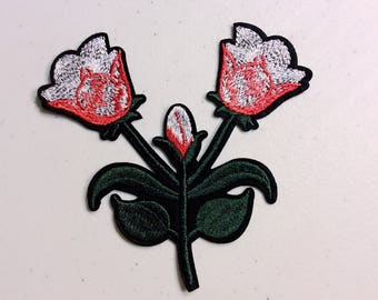 Ar/pink flowers/free shipping/iron on patches/embroidery appliqués/stitch work