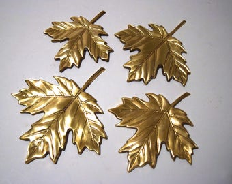 1970 Vintage Solid Brass maple leaves wall hangings Set of 4- excellent condition!