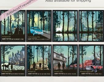 Set of 8 Harry Potter book & movie posters | Instant download | Sorcerer's stone, Chamber of Secrets, Prisoner of Azkaban, Goblet of fire