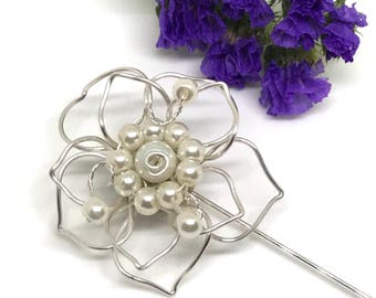 Silver Plated Flower, Pin Brooch with Glass Pearls