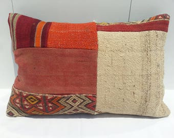 Color Lumbar Pillow,16x24 inches, Kilim Lumbar Pillow,long Lumbar Pillow,Handwoven Decorative Turkish Kilim Lumbar Pillow
