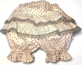SALE old Bloomer rose bronze dots and gray lace. * 29th instead of 42nd *.