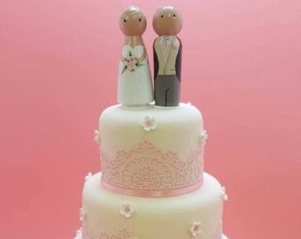 Peg Doll Bride and Groom Wooden Wedding Cake Topper Gifts