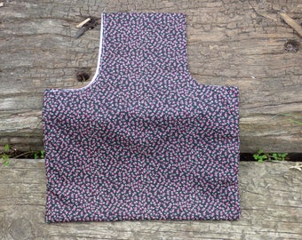Project bag. knitting bag. crochet bag. travel bag. over arm bag. Black with flowers bag.