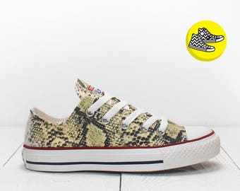 Python skin design custom converse shoes low top painted sneakers