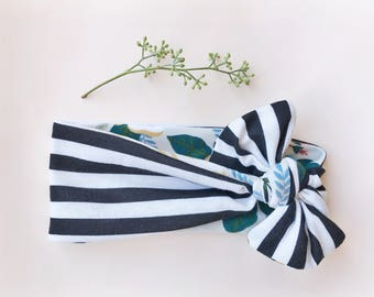 Stripe and Sage Floral Reversible Baby Headwrap