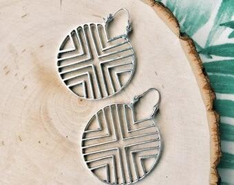 Geometric hoops, tribal earrings, brass earrings