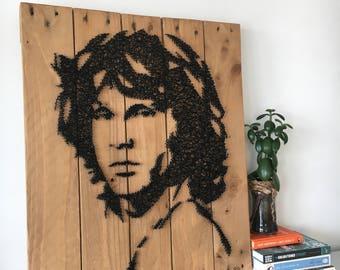 Jim Morrison - Portrait - String Art - Reclaimed Pallet Wood Wall Art - Handmade