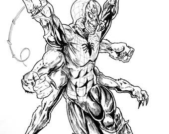 Man-Spider from Spiderman Ink Drawing