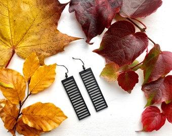 MINI SHIBUYA laser cut earrings / wooden earrings / wedding earrings / red earrings / modern jewelry / wooden drop earrings