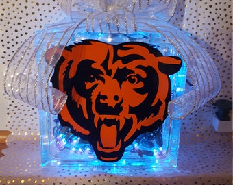 Chicago Bears Lighted Glass Block