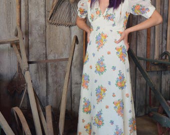 70s Gunne Sax Floral Print Dress, Prairie Maxi Dress