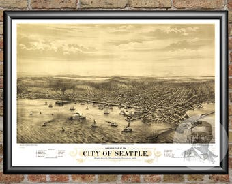 Seattle, Washington Art Print From 1878 - Digitally Restored Old Seattle, WA Map Poster - Perfect For Fans Of Washington History