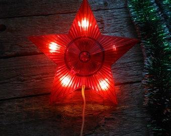 Soviet Vintage Christmas tree lights Red star,Soviet Christmas decoration on the tree,Vintage Christmas decor,Lantern red star