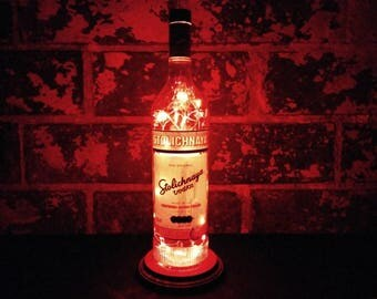 Stolichnaya Original Vodka Portable Bottle Lamp. Recycled Liquor Bottle Lamp. Red LED Lights. Man Cave / Office / Bar / Kitchen