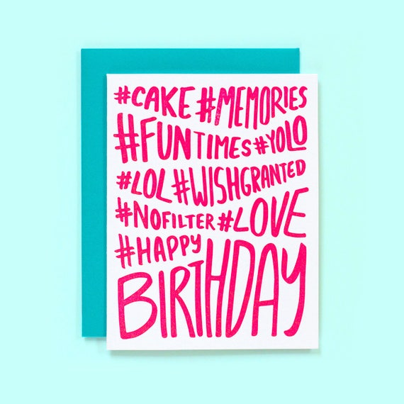 Fun Birthday Card Hashtag Birthday Card Funny Birthday