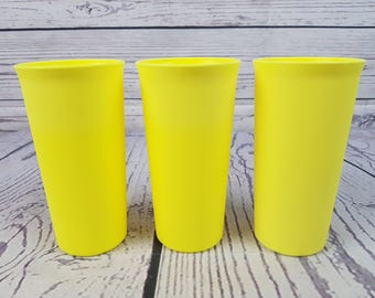 Vintage Tupperware Set of Three Yellow Small Plastic Cups Drinking Cup Made in USA Mod Retro Kitchen Camping Kid Juice