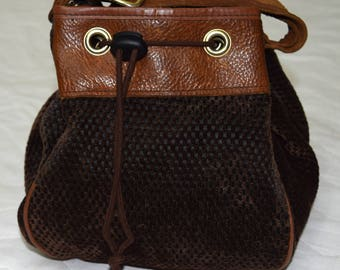 Vintage women bag brown leather fabric