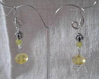 """yellow pearls duo"" earrings"