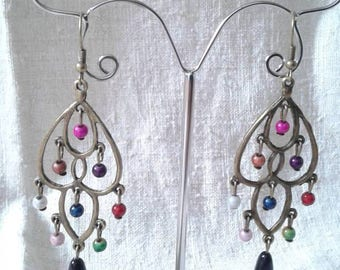 beautiful multicolored beads earrings