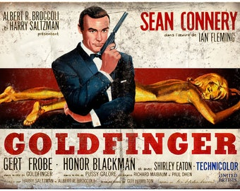 "James Bond, 007, Goldfinger, Ian Flemming Sean Connery 10"" x 7"" retro metal sign"