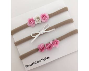 Baby Girl Headbands/ Set Of 3 Flower Headbands