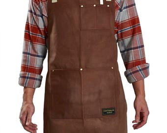 Craftsmans Guild Waxed Canvas Heavy Duty Apron w/ White Cotton Straps - Shop Utility Tool BBQ Chef Brewer Machinist Woodworking Art